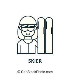 Skier vector line icon, linear concept, outline sign, symbol