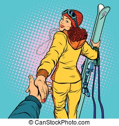 skier woman, extreme winter sports. follow me concept