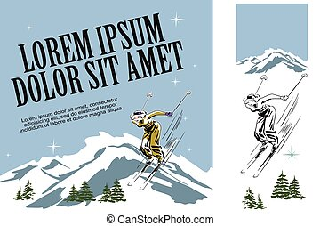 Skier woman. Illustration in retro style of advertising.