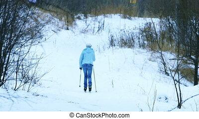 Skier Woman Training Skiing in Winter Park, Full HD