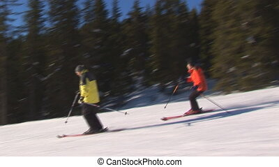 Skiers against the sun - Two skiers starting beside the...