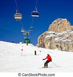 skiers, auf, a, piste