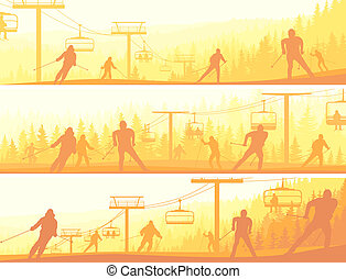 Skiers in morning hills.
