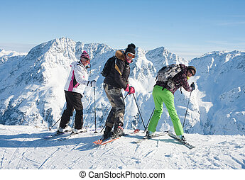 Skiers mountains in the background. Ski resort Solden. Austria