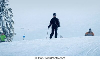 Skiers On Fresh Powder Slope - People skiing on mountaintop