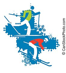 Skiers on the grunge background