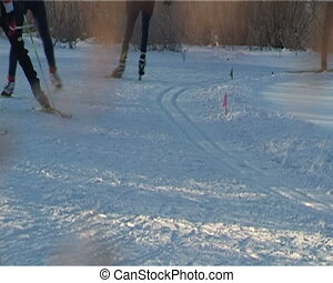 Skiers racing (Close-up)