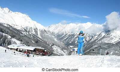 Skiers receive equipment in hire and then go on skis from mountain Gaislachalm