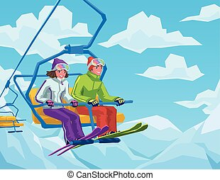 Skiers riding on the lift at the ski resort. Happy couple...