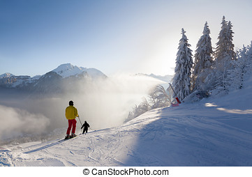 Skiers Setting off on a Piste in Morzine, France