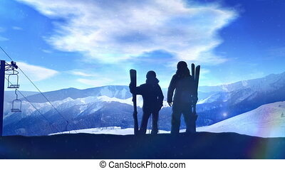 Skiers stand on a snowy mountainside.