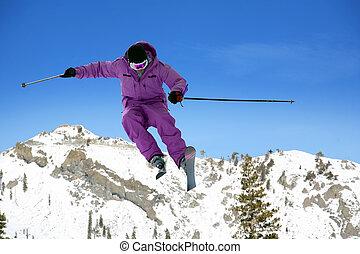 skieur, sauter