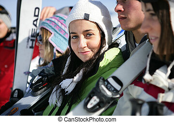 skieurs, groupe, jeune
