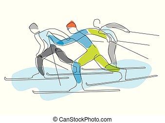 skieurs, nordique, stylized., lineart, course