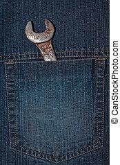 skiftnyckel, tyg, jeans., ficka, detta