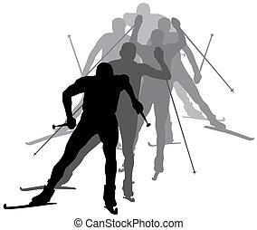 Skiing - Abstract vector illustration of biathlon skiers