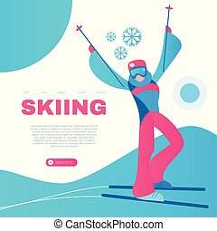 Skiing. Alpine Sport Design Template with Sportsman and...
