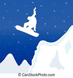 skiing and snowboard in winter vector illustration