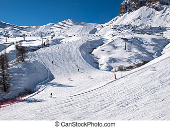 Skiing area in the Dolomites Alps. Overlooking the Sella ...