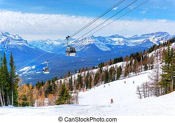 Skiing at Lake Louise in the Canadian Rockies of Alberta, Canada