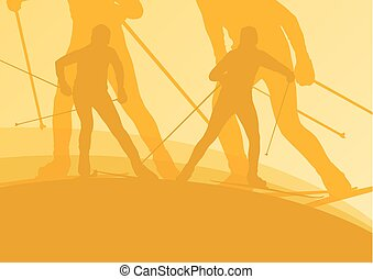 Skiing athlete competition vector abstract background