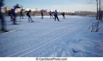 Skiing Championship - Crowd of people racing. Cross-country....