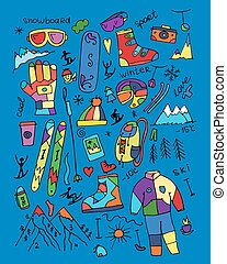 Skiing collection, sketch for your design. Vector...