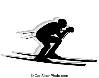 Black and white silhouette of a skier racing career at full speed.