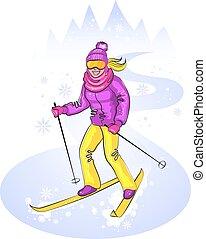Skiing cute girl on snowy hill