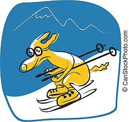 Skiing Dog - Skiing dog doodle cartoon with mountain...