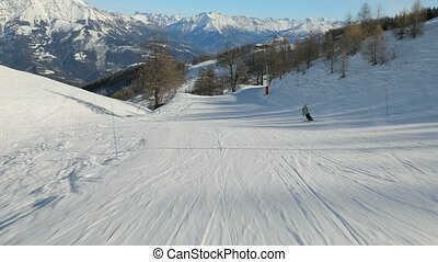 Skiing down a slope - Sking in the French Alps, first person...