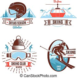 Skiing Emblems And Design Elements