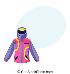 Skiing, hiking, winter sport down jacket, flat style vector illustration