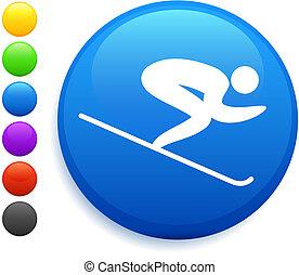 skiing icon on round internet button
