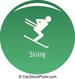 Skiing icon vector green