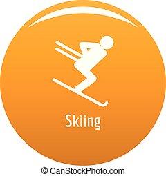 Skiing icon vector orange