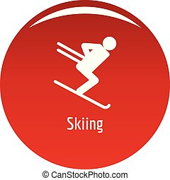 Skiing icon vector red