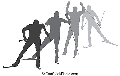 Skiing - Abstract vector illustration of  skiers