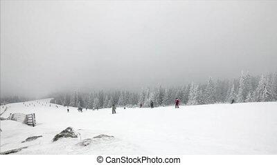Skiing in blizzard