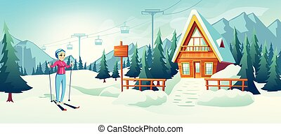 Skiing in mountain winter resort cartoon vector