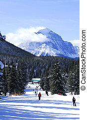 Skiing in mountains - Downhill skiing in Canadian Rocky...