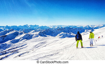 Skiing in the austrian alps