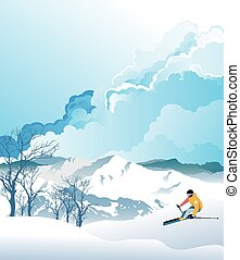 Skiing in the mountains - Skier in action with mountains in ...