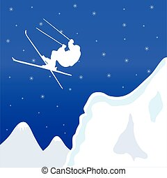 skiing in winter vector illustration