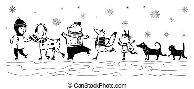 Skiing Kid and animals pets friends in winter