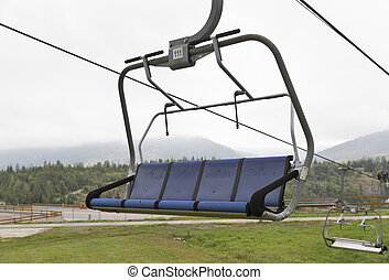 skiing lift chair in the fall