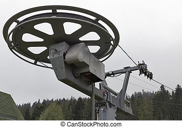 skiing lift mechanism in the fall