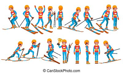 Skiing Male Player Vector. Winter Games. Competing In Championship. Playing In Different Poses. Man Athlete. Isolated On White Cartoon Character Illustration