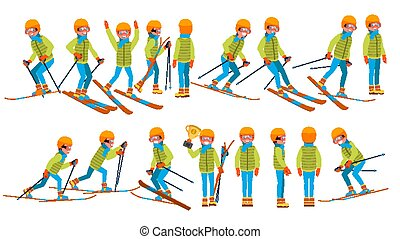 Skiing Male Vector. In Action. Man On Skis. Winter Sport. Ski Suit. Cartoon Character Illustration