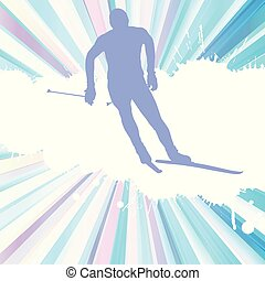 Skiing man vector abstract burst background poster